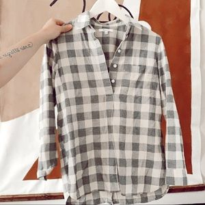 Madewell neutral plaid popover shirt
